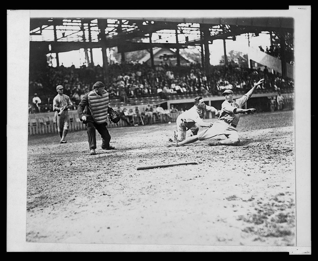 8 x 10 Reprinted Old Photo of [Umpire makes the call as the catcher applies tag to ball player sliding into home plate during a baseball game] 1920 National Photo Co  13a