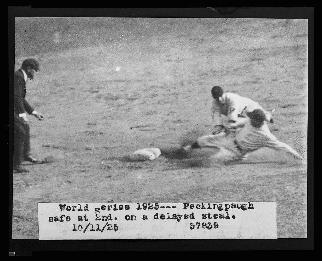 8 x 10 Reprinted Old Photo of [Roger Peckinpaugh, of the Washington Nationals, sliding safely into 2nd base on a delayed steal during the 1925 World Series between Washingt 1925 National Photo Co  37a