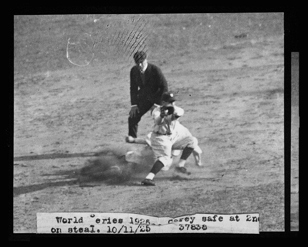8 x 10 Reprinted Old Photo of [Max Carey, of the Pittsburgh Pirates, steals 2nd base during the 1925 World Series between the Washington Nationals and Pittsburgh] 1925 National Photo Co  38a