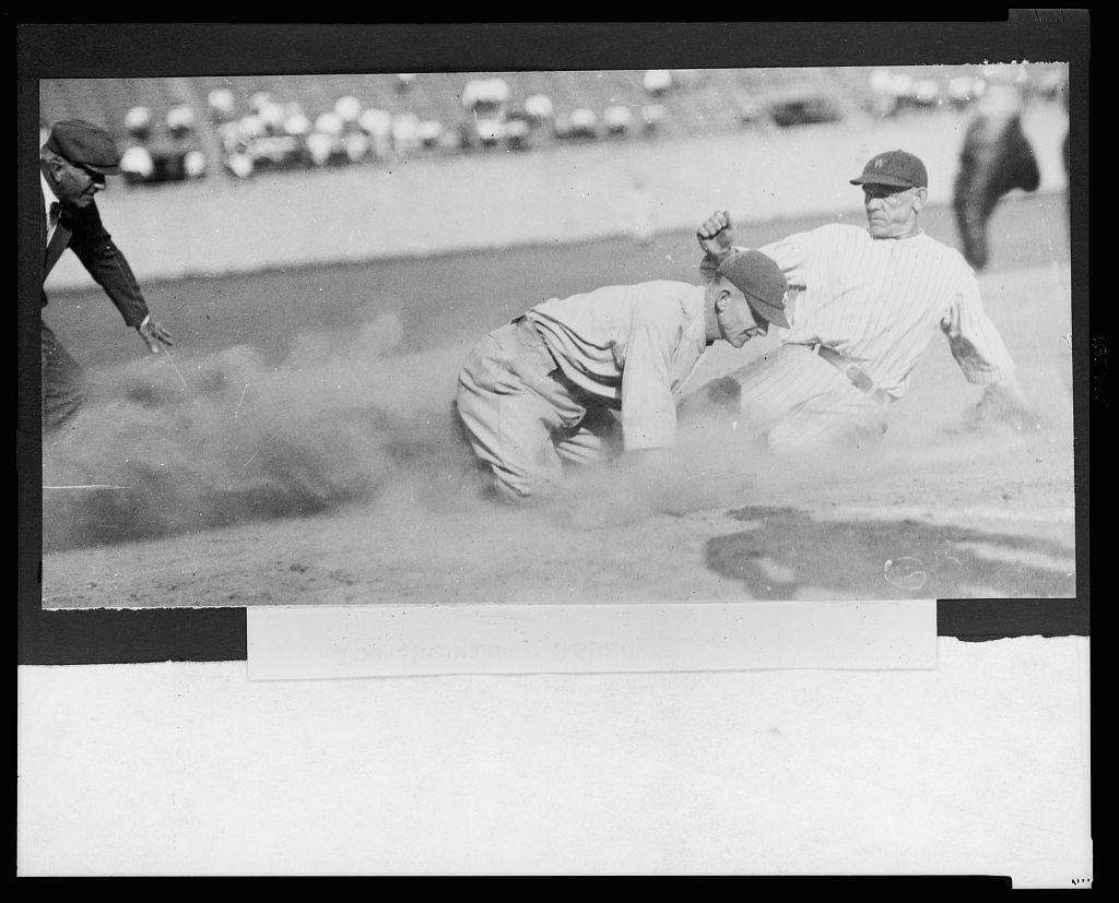 8 x 10 Reprinted Old Photo of [Joe Harris, of the Washington National, sliding safely into 3rd base during a baseball game] 1924 National Photo Co  35a