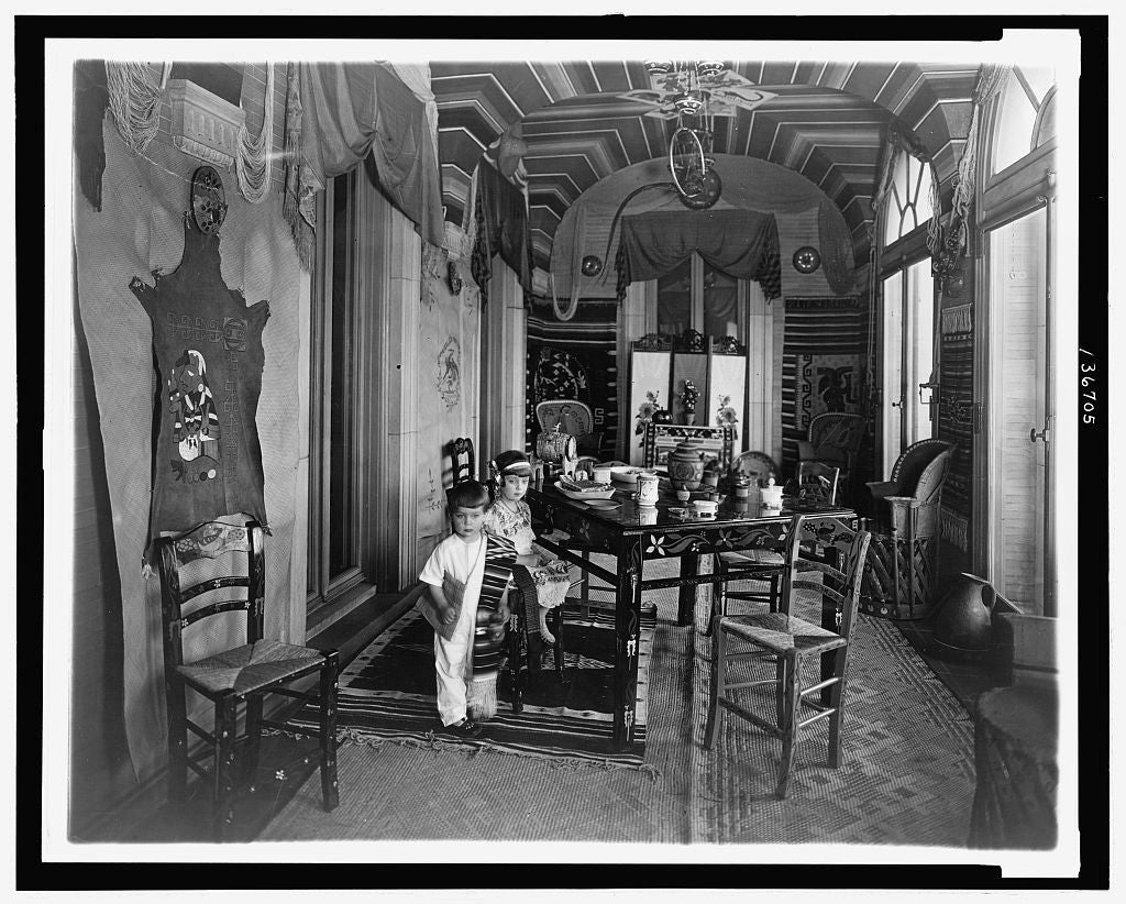 8 x 10 Reprinted Old Photo of [Emilia and JosŽ Tellez, children of Mexican ambassador Don Manuel Tellez, in the Mexican Room at the Mexican Embassy, Washington, D.C.] 1925 National Photo Co  85a