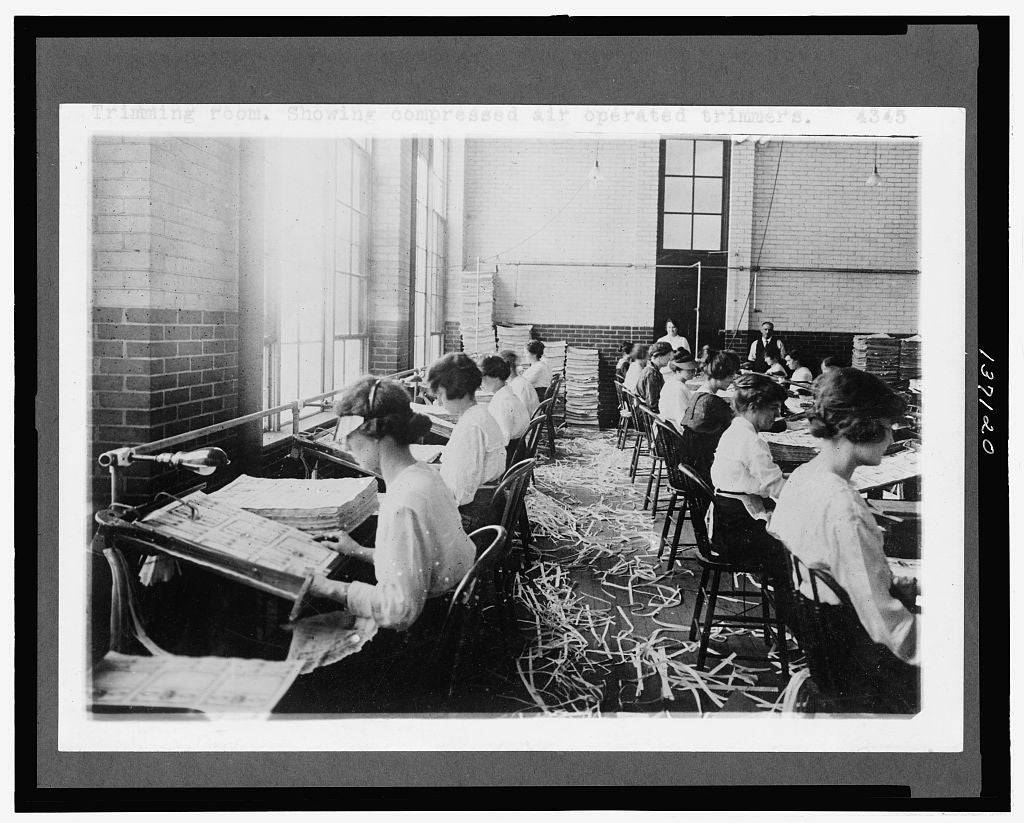 8 x 10 Reprinted Old Photo of Trimming room. Showing compressed air operated trimmers 1921 National Photo Co  99a