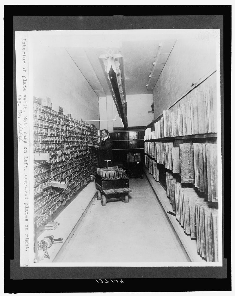8 x 10 Reprinted Old Photo of Interior of plate vault. Roll case on left, engraved plates on right 1921 National Photo Co  04a