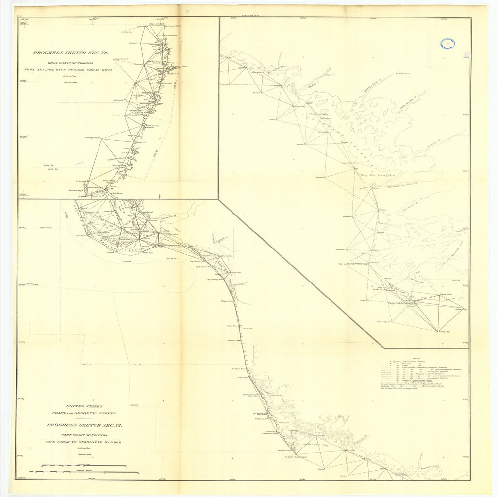 18 x 24 inch 1886 US old nautical map drawing chart of 6. Parts of Sections VI anil VII. Progress on the west coast of Florida, from Cape From  US Coast & Geodetic Survey x2568