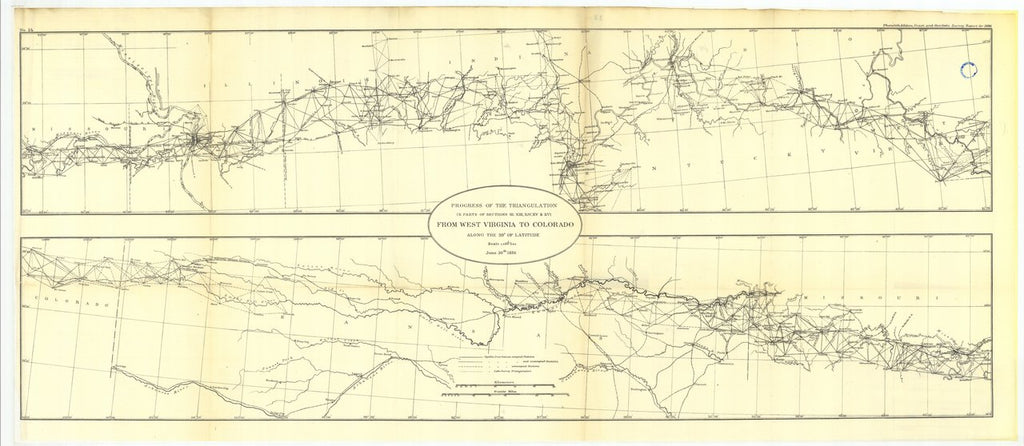 18 x 24 inch 1886 US old nautical map drawing chart of Progress of the triangulation From West Virgina to Colorado From   US Coast & Geodetic Survey x48