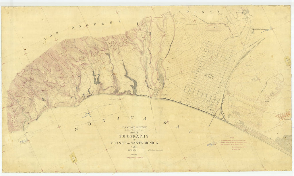 18 x 24 inch 1875 US old nautical map drawing chart of Topography Of Vicinity Of Santa Monica Cal., CA From  U.S. Coast Survey x2403
