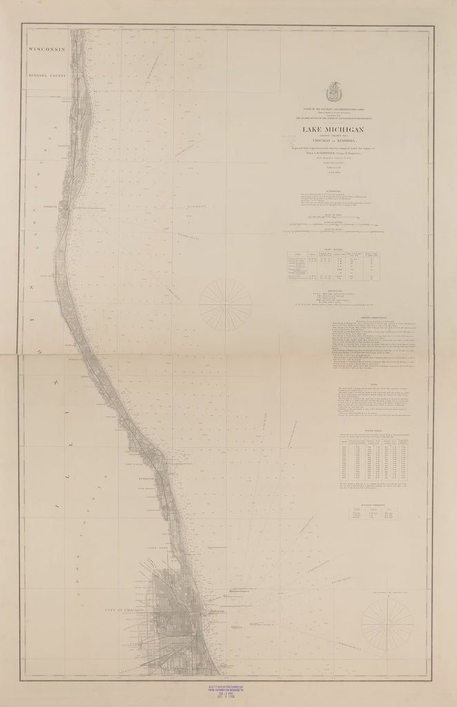 18 x 24 inch 1877 US old nautical map drawing chart of LAKE MICHIGAN CHICAGO TO KENOSHA From  Lake Survey x1542