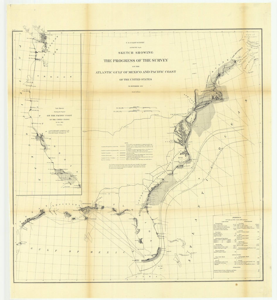 18 x 24 inch 1863 US old nautical map drawing chart of Sketch Showing the Progress of the Survey on the Atlantic Gulf of Mexico and Pacific Coast of the United States to November 1863.. From  U.S. Coast Survey x1026