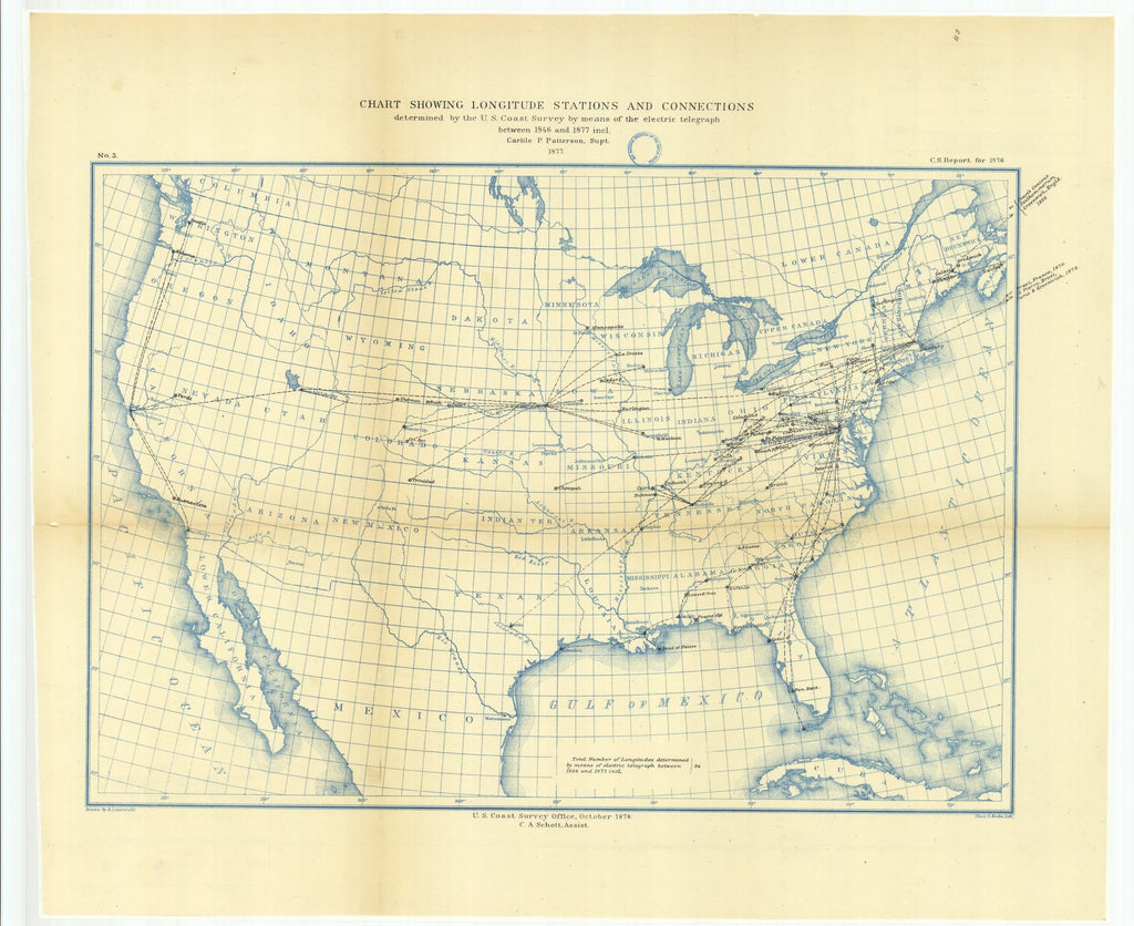 18 x 24 inch 1878 US old nautical map drawing chart of Chart Showing Longitude Stations and Connections Determined by the U.S. Coast Survey by Means of the Electric Telegraph Between 1846 and 1877 From  U.S. Coast Survey x1475