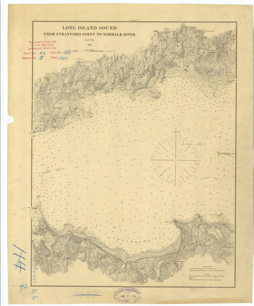 18 x 24 inch 1883 New York old nautical map drawing chart of Long Island Sound From Stratford Point to Norwalk River From  US Coast & Geodetic Survey x7092
