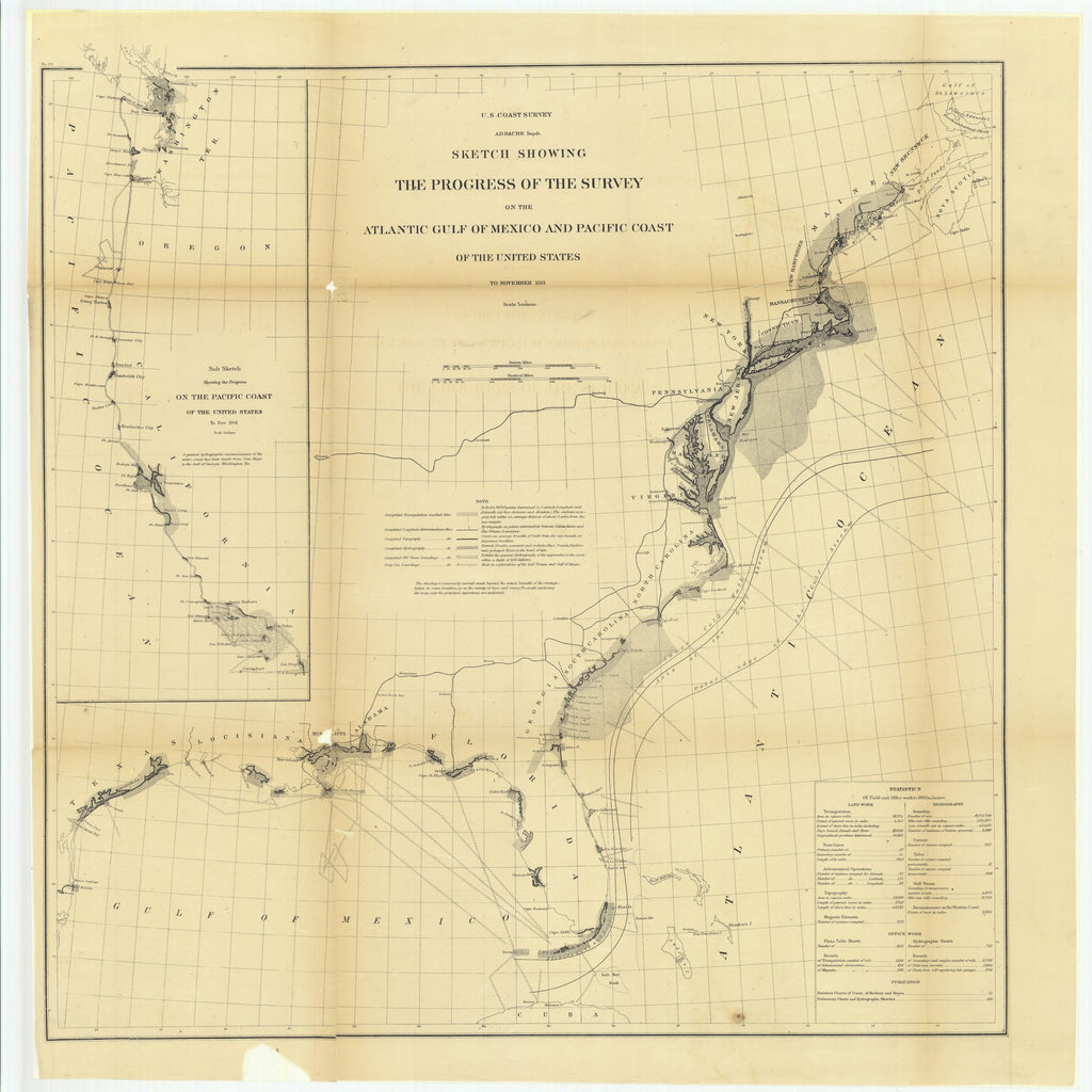 18 x 24 inch 1861 Texas old nautical map drawing chart of Sketch Showing the Progress of the Survey on the Atlantic Gulf of Mexico and Pacific Coast of the United States to November 1861.. From  U.S. Coast Survey x11902