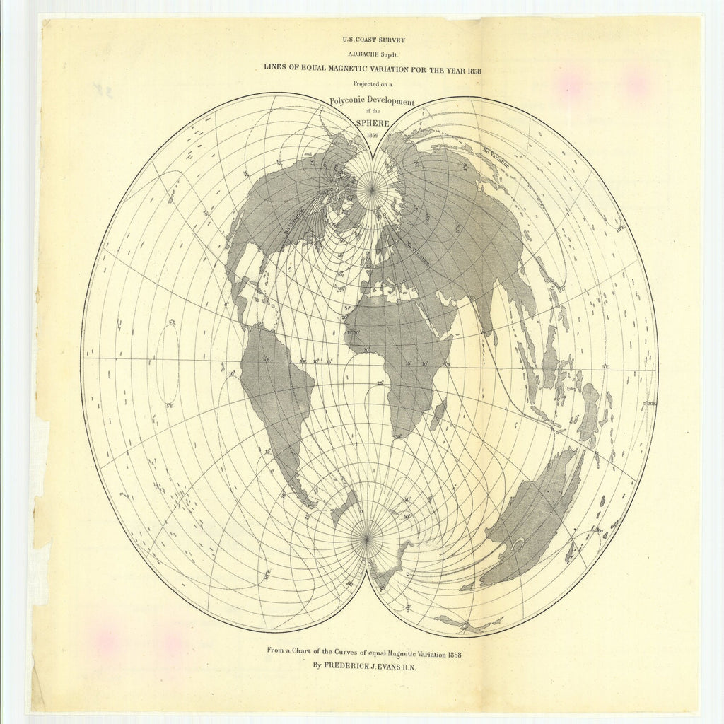 18 x 24 inch 1859 US old nautical map drawing chart of Lines of Equal Magnetic Variation for the Year 1858 Projected on a Polyconic Development of the Sphere From  U.S. Coast Survey x5080