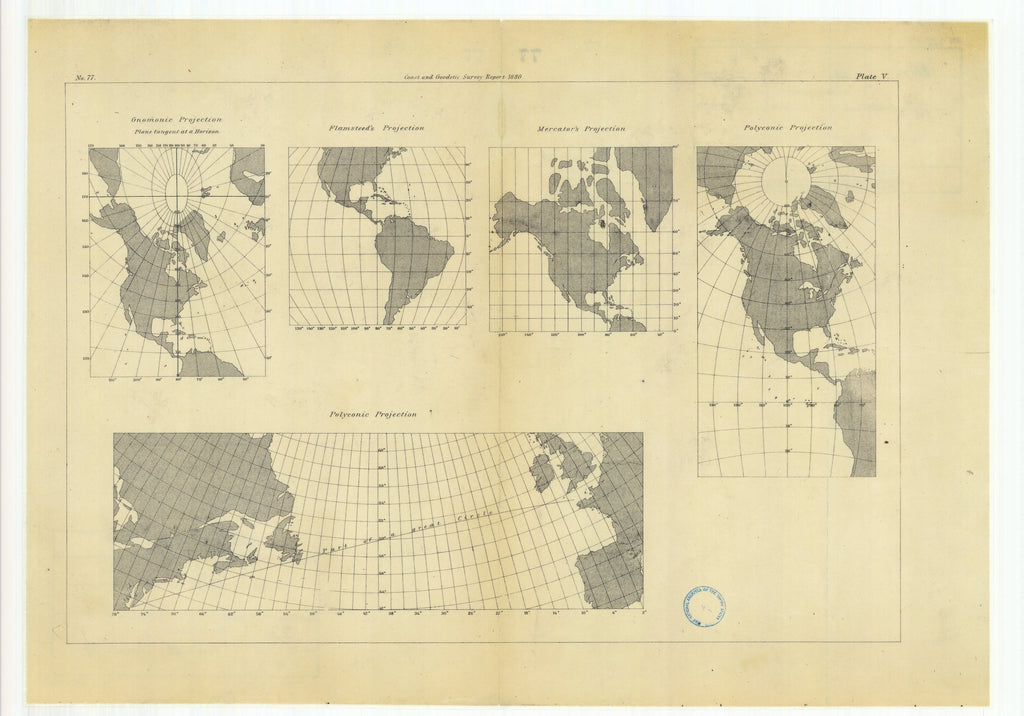18 x 24 inch 1880 US old nautical map drawing chart of Gnomonic Projection with Flamsteed's Projection, Mercator's Projection and with Polyconic Projections From  US Coast & Geodetic Survey x1886