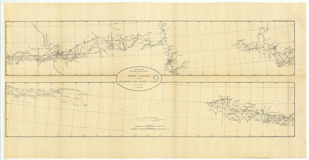 18 x 24 inch 1883 US old nautical map drawing chart of Geodetic Connection of the Atlantic and Pacific Coasts From  US Coast & Geodetic Survey x277