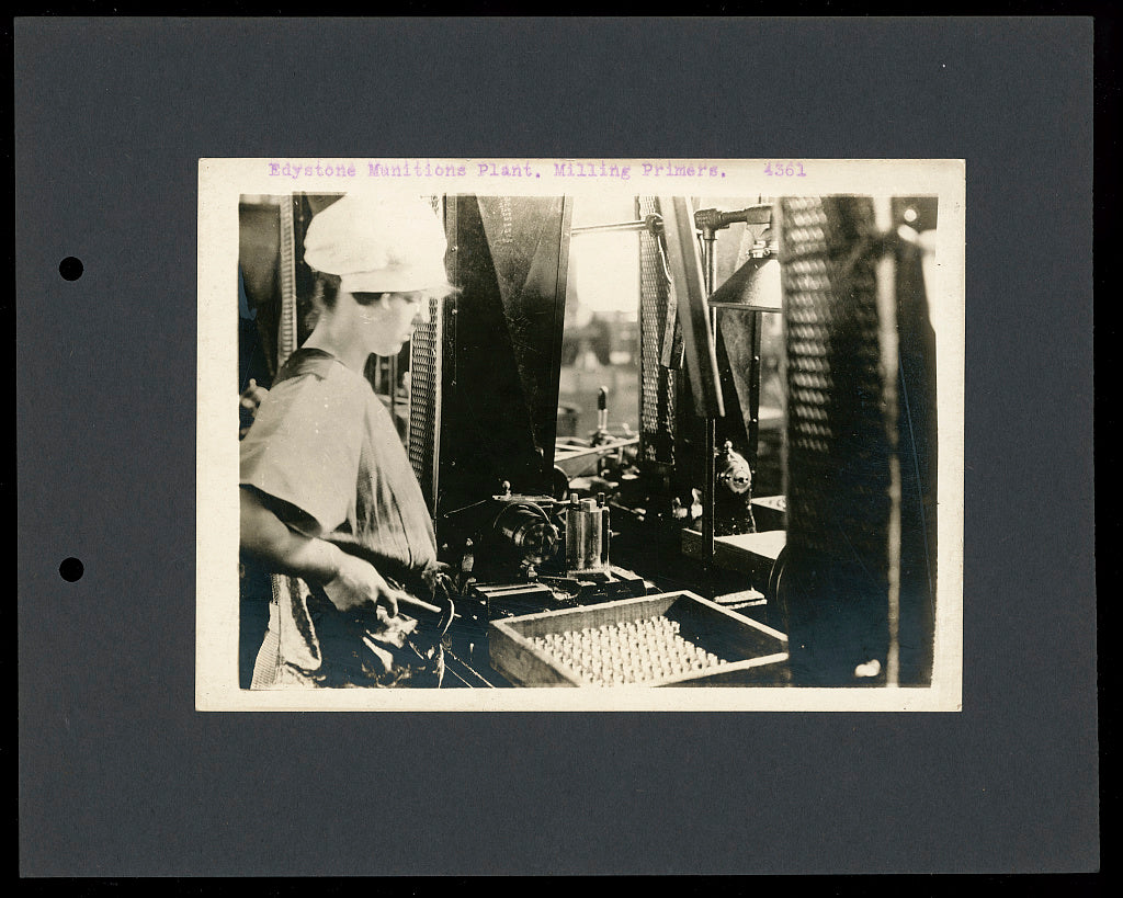 16 x 20 Reprinted Old Photo of Edystone [sic] munitions plant, milling primers 1916 National Photo Co  40a