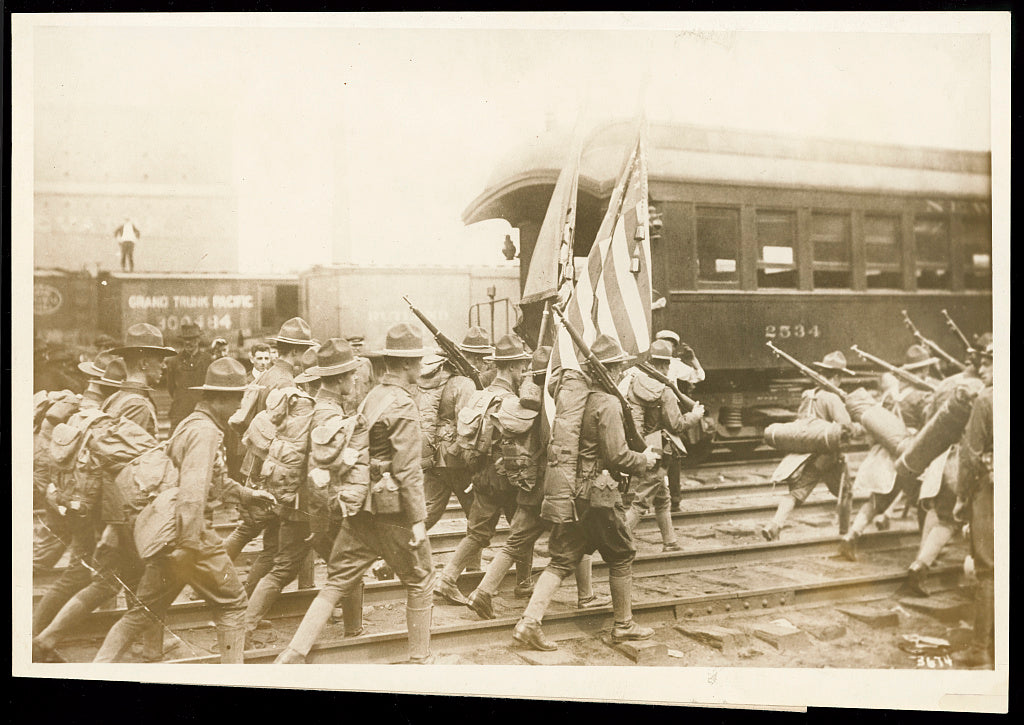 8 x 10 Reprinted Old Photo of Militiamen off for training camp / photo by Central News Photo Service. 1917 National Photo Co  44a