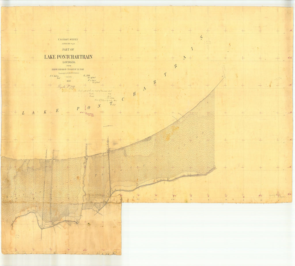 18 x 24 inch 1860 US old nautical map drawing chart of Part of Lake Pontchartrain from Bayou Coushon to Bayou Le Bar, Louisiana From  U.S. Coast Survey x2024
