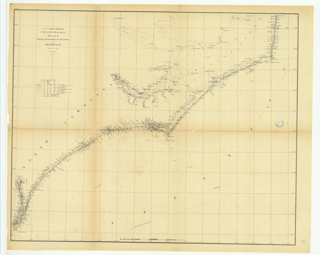 18 x 24 inch 1867 North Carolina old nautical map drawing chart of Sketch D Showing the Progress of the Survey in Section Number 4 from 1845 to 1867 From  U.S. Coast Survey x7188