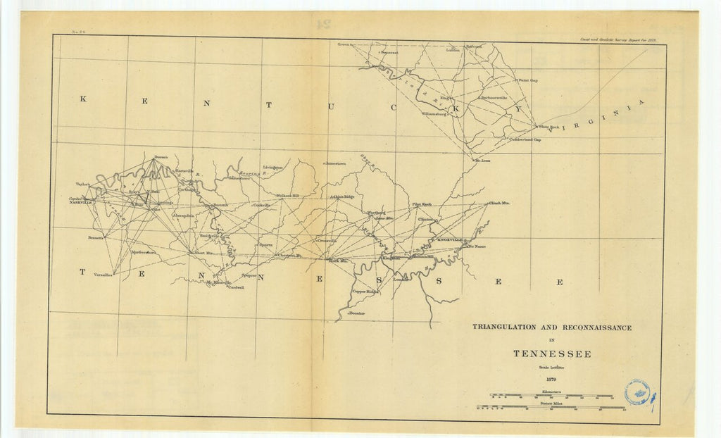 18 x 24 inch 1879 US old nautical map drawing chart of Triangulation and Reconnaissance in Tennessee From  U.S. Coast Survey x265
