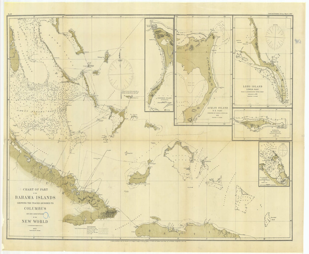 18 x 24 inch 1881 WORLD old nautical map drawing chart of Chart of Part of the Bahama Islands Showing the Tracks Ascribed to Columbus on his Discovery of the New World From  US Coast & Geodetic Survey x11810