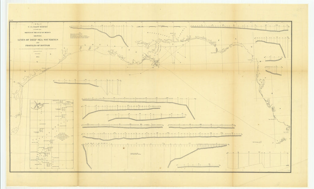 18 x 24 inch 1855 US old nautical map drawing chart of Sketch of the Gulf of Mexico Showing Lines of Deep Sea Soundings and Profiles of Bottom with Sub Sketch Showing the Positions of Temperature Observations From  U.S. Coast Survey x2914