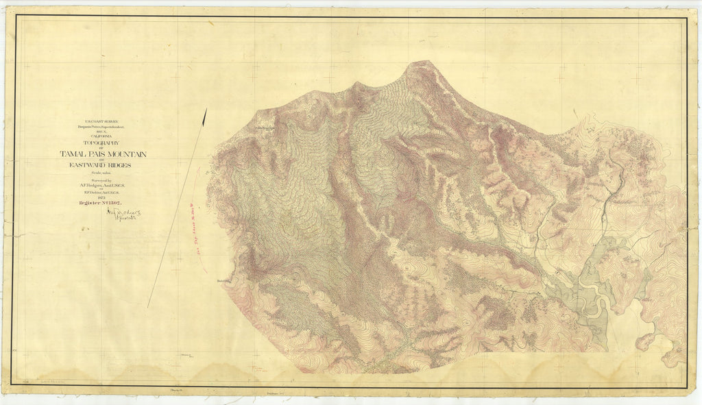 18 x 24 inch 1873 US old nautical map drawing chart of Tamalpais Mountain and Eastward Ridges, California From  U.S. Coast Survey x2070