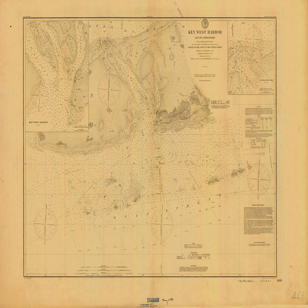 18 x 24 inch 1884 US old nautical map drawing chart of KEY WEST HARBOR From  US Coast & Geodetic Survey x1762