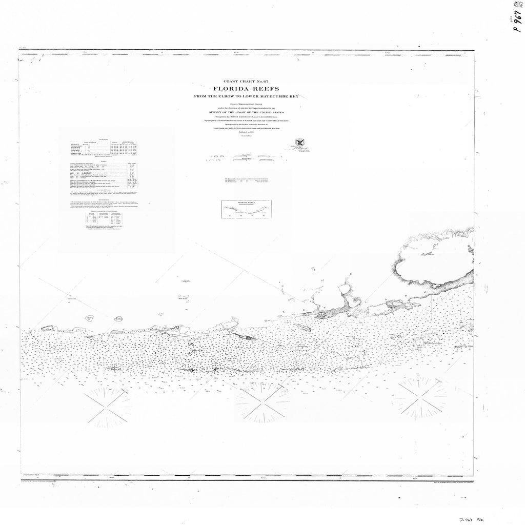 18 x 24 inch 1863 US old nautical map drawing chart of FLORIDA REEFS FROM THE ELBOW TO LOWER MATECUMBE KEY From  U.S. Coast Survey x1783