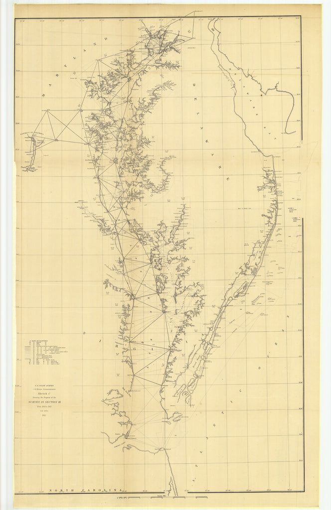 18 x 24 inch 1851 North Carolina old nautical map drawing chart of Sketch C Showing the Progress of the Survey in Section III from 1843 to 1851 From  U.S. Coast Survey x7161