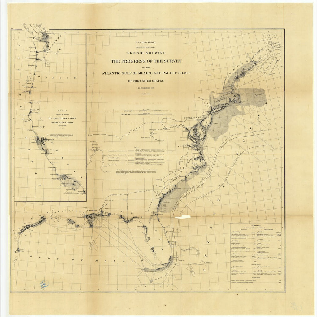 18 x 24 inch 1869 US old nautical map drawing chart of Sketch Showing the Progress of the Survey on the Atlantic Gulf of Mexico and Pacific Coast of the United States to November 1869.. From  U.S. Coast Survey x2266