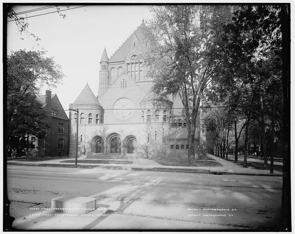 16 x 20 Gallery Wrapped Frame Art Canvas Print of First Presbyterian Church Detroit 1895 Detriot Publishing co.  03a