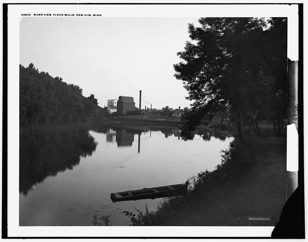 16 x 20 Gallery Wrapped Frame Art Canvas Print of Riverview flour mills New Ulm Minn  1890 Detriot Publishing co.  55a