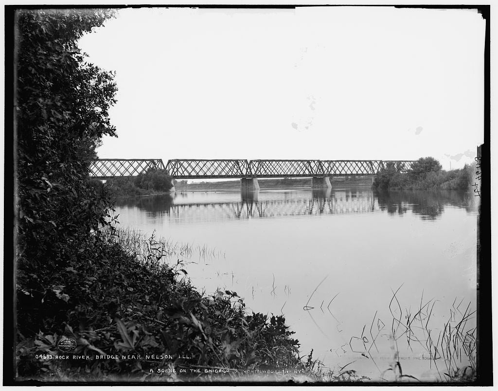 16 x 20 Gallery Wrapped Frame Art Canvas Print of Rock River Bridge near Nelson Ill  1898 Detriot Publishing co.  20a