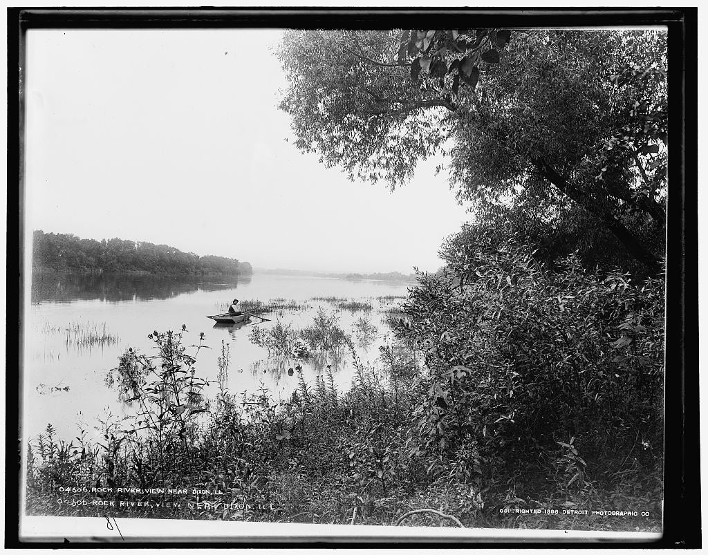 16 x 20 Gallery Wrapped Frame Art Canvas Print of Rock River view near Dixon Ill  1898 Detriot Publishing co.  83a