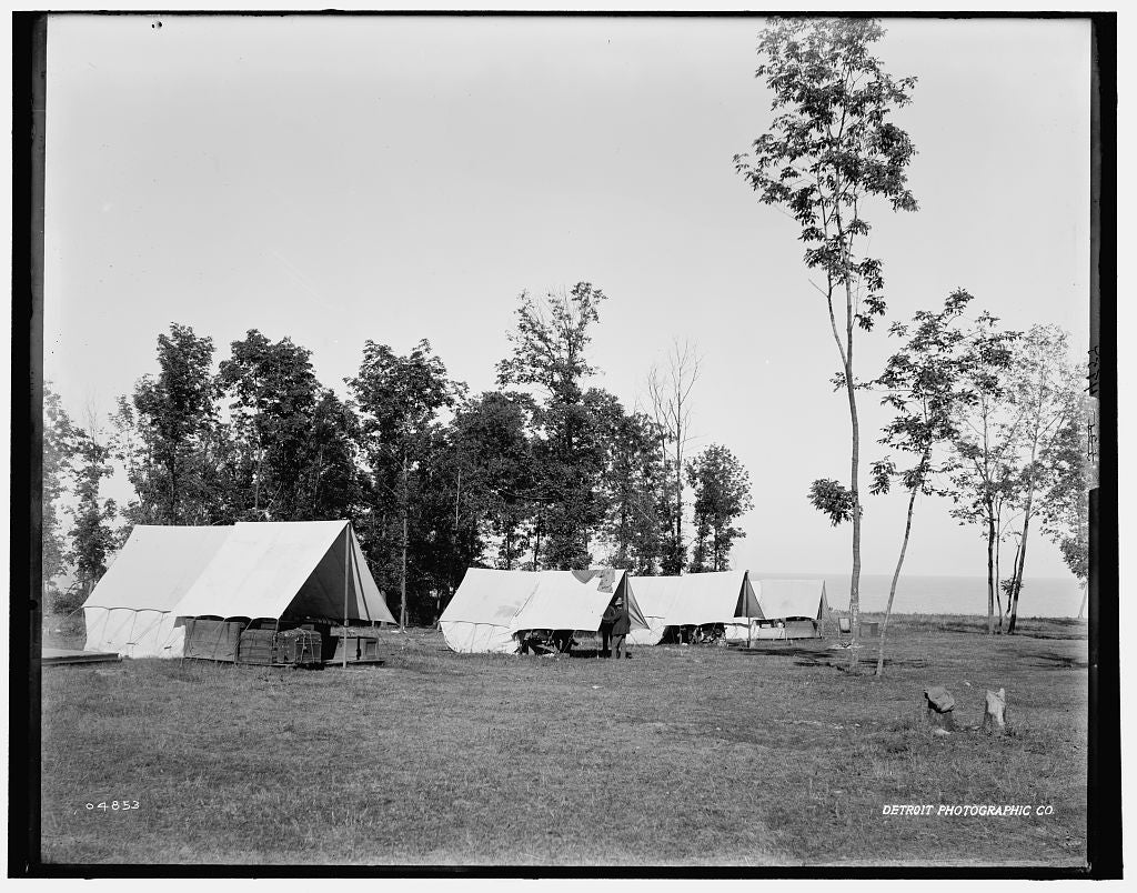 16 x 20 Gallery Wrapped Frame Art Canvas Print of Fort Sheridan camp ground by the lake 1890 Detriot Publishing co.  28a