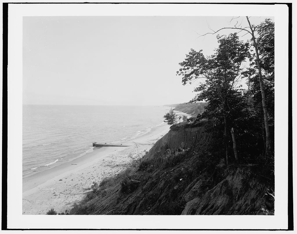 16 x 20 Gallery Wrapped Frame Art Canvas Print of Fort Sheridan Ill Lake Michigan from camp 1890 Detriot Publishing co.  58a
