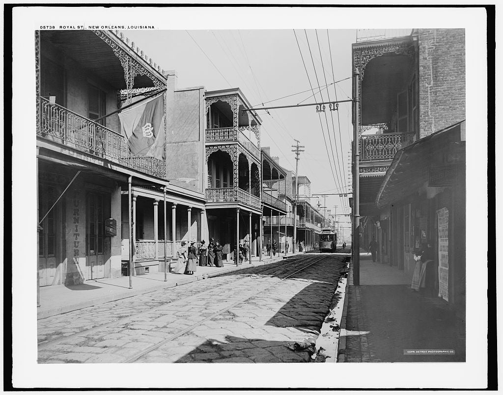 16 x 20 Gallery Wrapped Frame Art Canvas Print of Royal St New Orleans Louisiana 1890 Detriot Publishing co.  31a