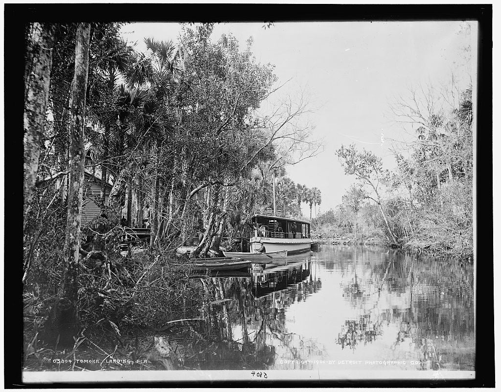16 x 20 Gallery Wrapped Frame Art Canvas Print of Tomoka landing Fla  1900 Detriot Publishing co.  04a