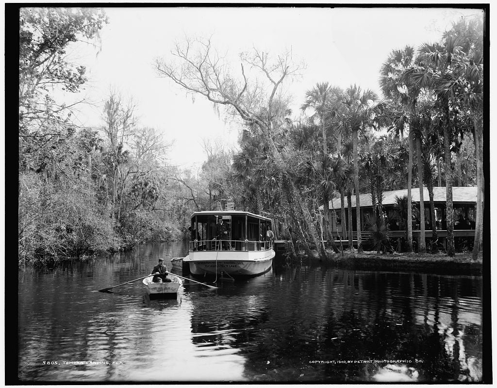 16 x 20 Gallery Wrapped Frame Art Canvas Print of Tomoka landing Fla  1900 Detriot Publishing co.  15a