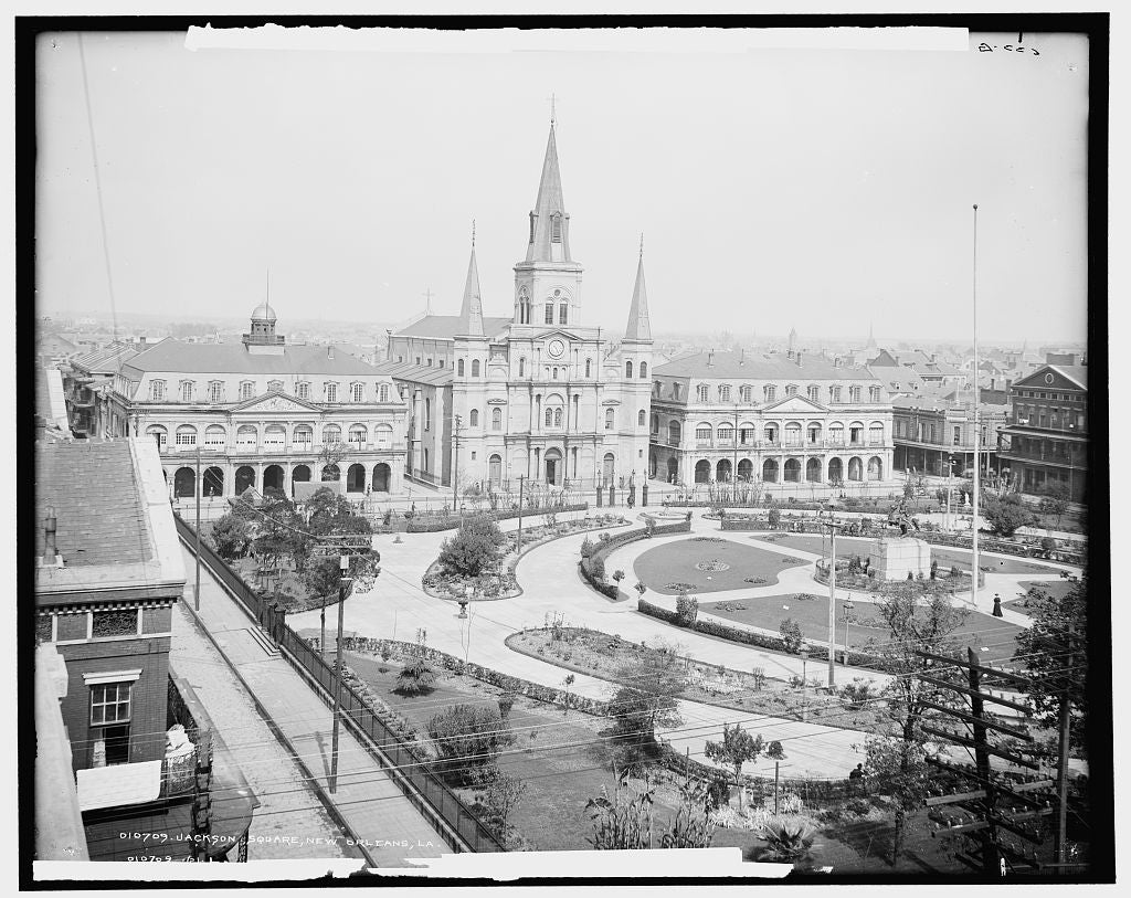 16 x 20 Gallery Wrapped Frame Art Canvas Print of Jackson Square New Orleans La  1903 Detriot Publishing co.  68a