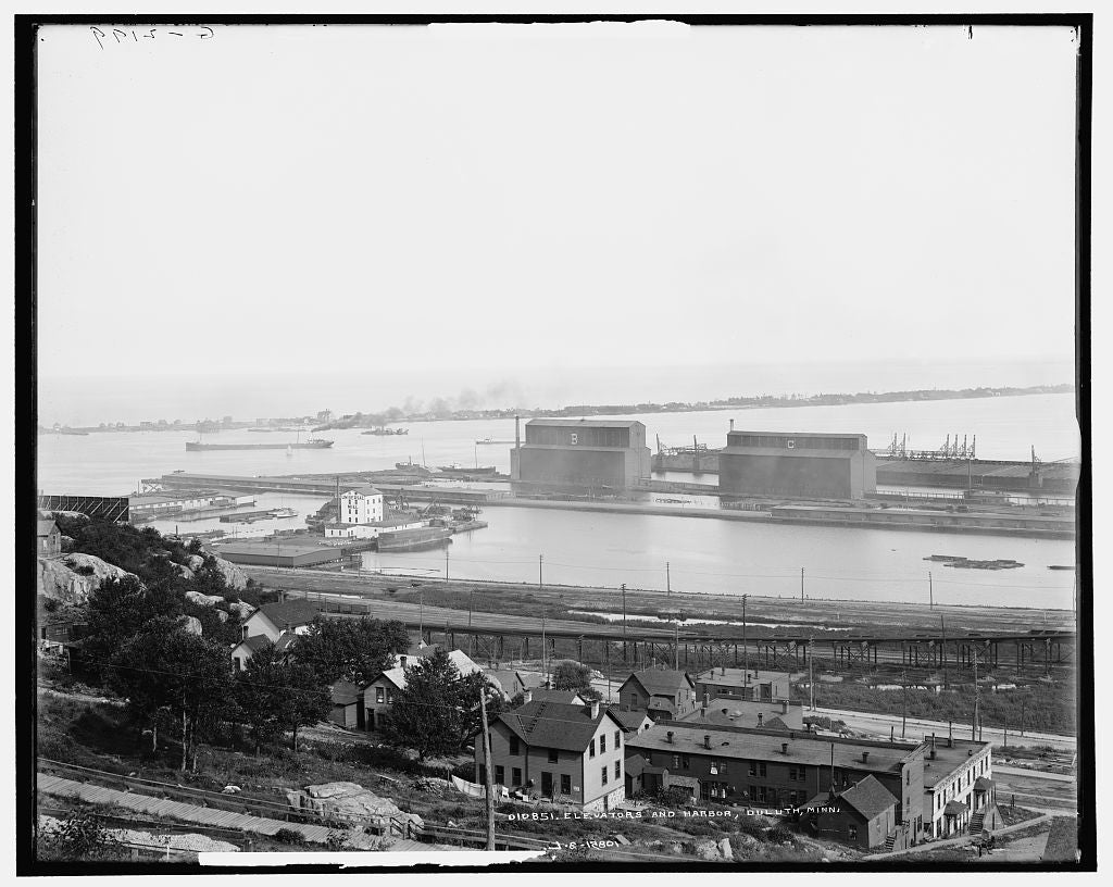 16 x 20 Gallery Wrapped Frame Art Canvas Print of Elevators and harbor Duluth Minn  1905 Detriot Publishing co.  08a