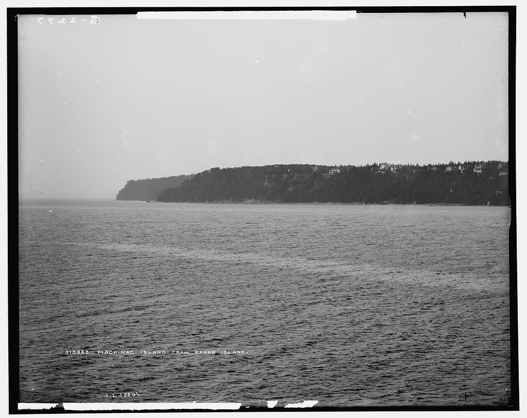 16 x 20 Gallery Wrapped Frame Art Canvas Print of Mackinac Island from Round Island 1905 Detriot Publishing co.  74a