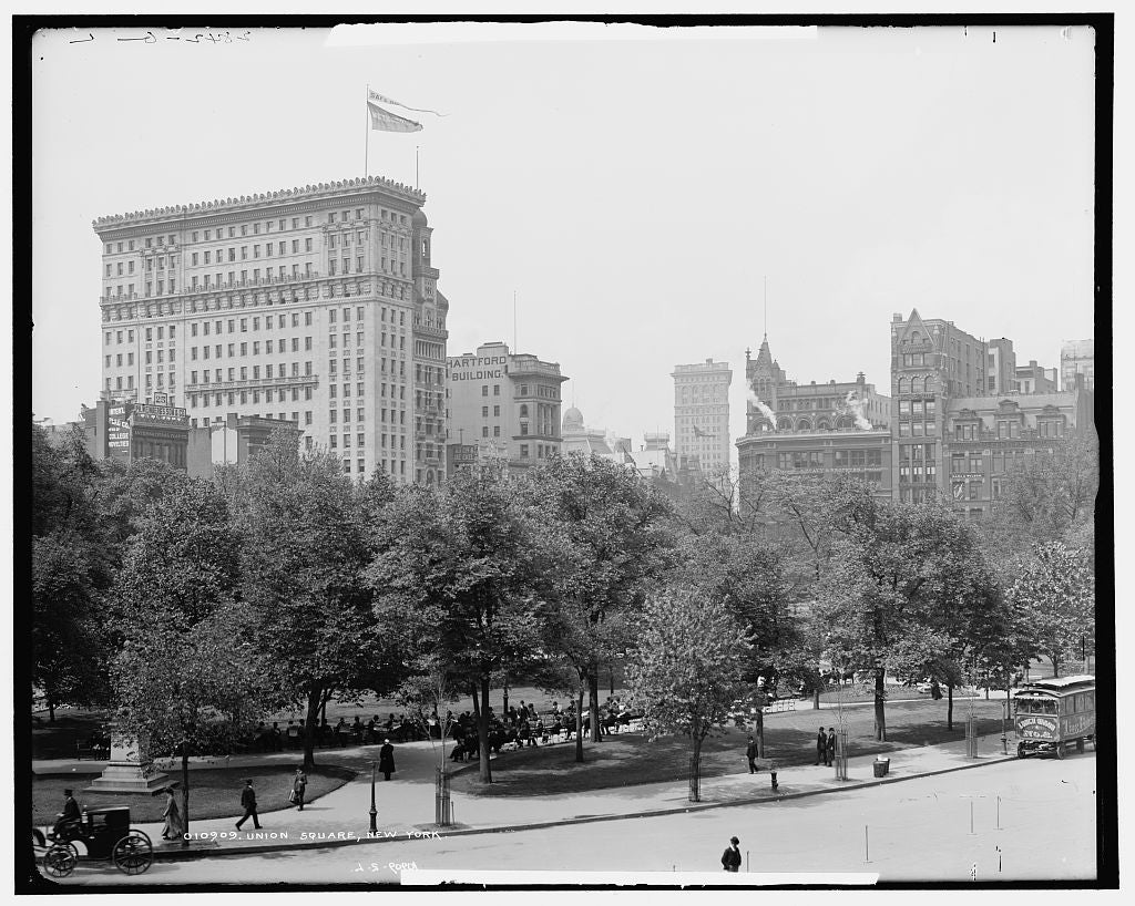 16 x 20 Gallery Wrapped Frame Art Canvas Print of Union Square New York 1905 Detriot Publishing co.  75a