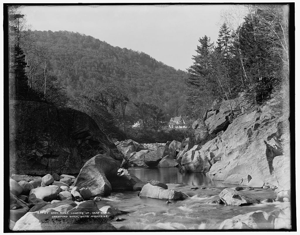 16 x 20 Gallery Wrapped Frame Art Canvas Print of Saco River looking up near Bemis Crawford Notch White Mountains 1900 Detriot Publishing co.  05a