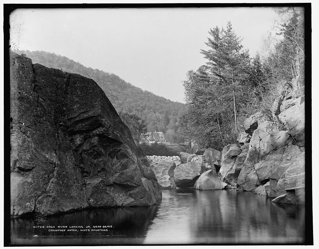 16 x 20 Gallery Wrapped Frame Art Canvas Print of Saco River looking up near Bemis Crawford Notch White Mountains 1900 Detriot Publishing co.  13a