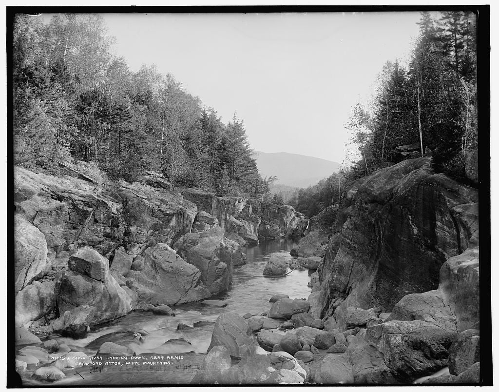 16 x 20 Gallery Wrapped Frame Art Canvas Print of Saco River looking down near Bemis Crawford Notch White Mountains  1890 Detriot Publishing co.  80a