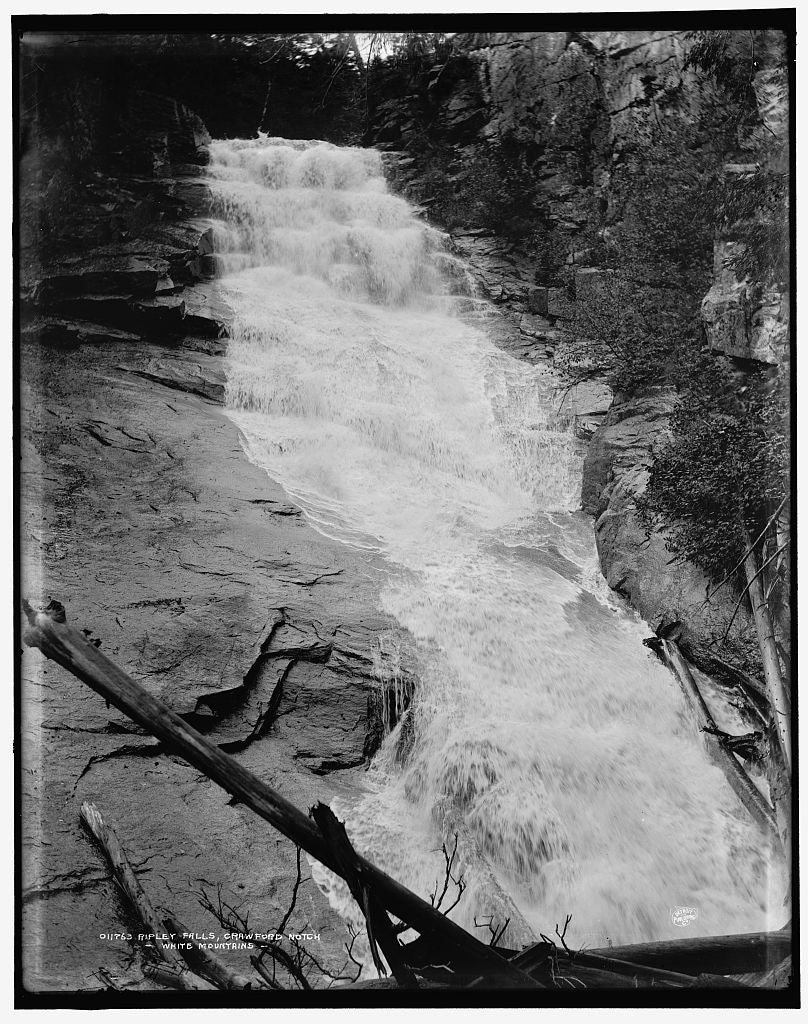 16 x 20 Gallery Wrapped Frame Art Canvas Print of Ripley Falls Crawford Notch White Mountains 1896 Detriot Publishing co.  41a