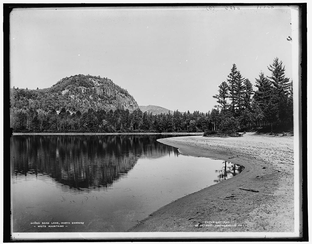 16 x 20 Gallery Wrapped Frame Art Canvas Print of Echo Lake North Conway White Mountains 1900 Detriot Publishing co.  39a