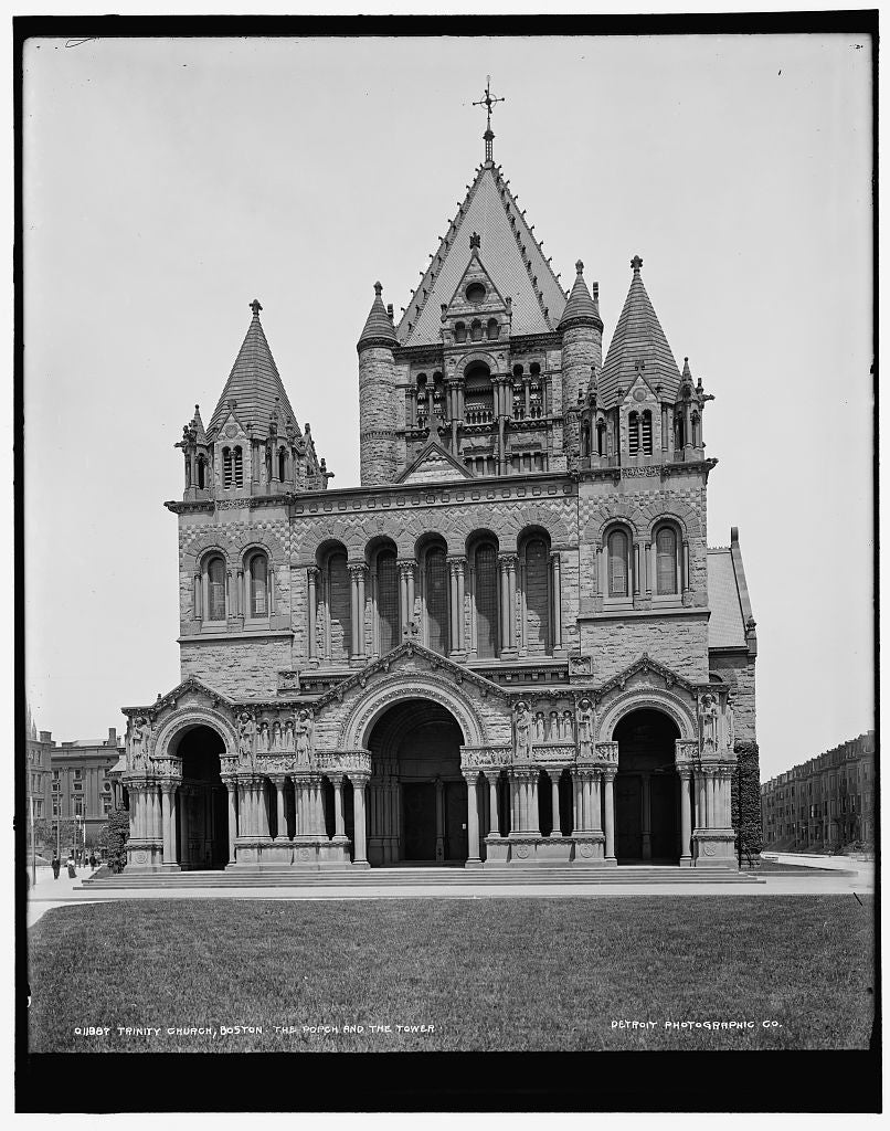 16 x 20 Gallery Wrapped Frame Art Canvas Print of Trinity Church Boston the porch and the tower  1890 Detriot Publishing co.  69a