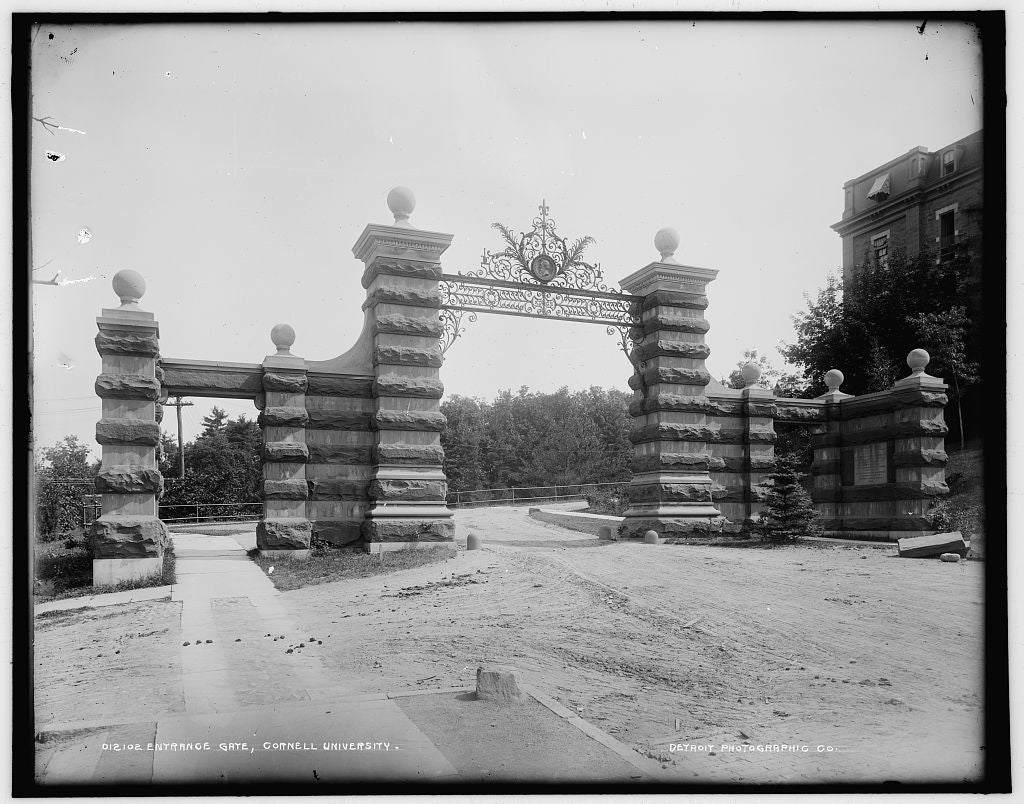 16 x 20 Gallery Wrapped Frame Art Canvas Print of Entrance gate Cornell University  1890 Detriot Publishing co.  96a